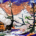Abstract Cabin In The Snow Winterscene by Ginette Callaway