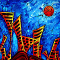 Abstract Cityscape Art Original City Painting The Lost City II By Madart by Megan Duncanson