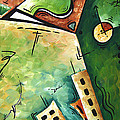 Abstract Martini Cityscape Contemporary Original Painting Martini Hour By Madart by Megan Duncanson