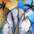 Abstract Martini Tropical Contemporary Original Painting Martini On The Beach By Madart by Megan Duncanson