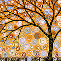 Abstract Modern Tree Landscape Dreams Of Gold By Amy Giacomelli by Amy Giacomelli