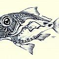 Abstract Redfish In Ink by J Vincent Scarpace