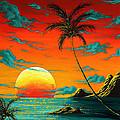 Abstract Surreal Tropical Coastal Art Original Painting Tropical Burn By Madart by Megan Duncanson