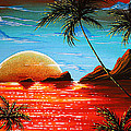 Abstract Surreal Tropical Coastal Art Original Painting Tropical Fusion By Madart by Megan Duncanson