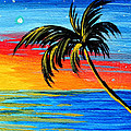 Abstract Tropical Palm Tree Painting Tropical Goodbye By Madart by Megan Duncanson