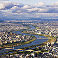 Aerial Japanese Cityscape And River by Jeremy Woodhouse