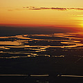 Aerial Sunset Of The Suisun Slough by Rich Reid