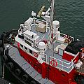 Aerial View Of Red Tug  by Randy Harris