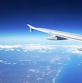 Aerial View V Of An Airplane Flying Over Valencia In Spain Headed East Towards The Mediterranean Se by John Shiron