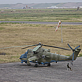 Afghan Army Soldiers Guard An Mi-35 by Terry Moore
