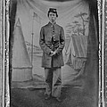 African American Soldier Posed In Front by Everett