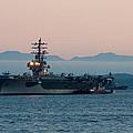 Aircraft Carrier At Sunset - Uss Ronald Reagan by Matt Dobson