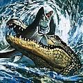 Alligator Eating Fish by English School
