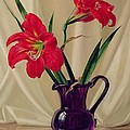 Amaryllis Lillies In A Dark Glass Jug by Albert Williams
