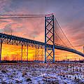 Ambassador Bridge Sunrise 1-16-2012  Detroit Mi by Nicholas  Grunas