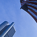 American Flag And Renaissance Center In Detroit, Michigan by Will & Deni McIntyre