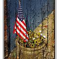 American Flag In Flower Pot - 1 by Larry Mulvehill