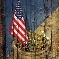 American Flag In Flower Pot - 2 by Larry Mulvehill