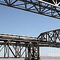 Amtrak Train Riding Atop The Benicia-martinez Train Bridge In California - 5d18835 by Wingsdomain Art and Photography