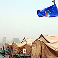 An Air Force Flag In Tent City Waves by Stocktrek Images