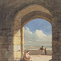 An Arch At Holy Island - Northumberland by John Varley