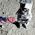 An Astronaut On The Surface Of The Moon Next To An American Flag by Caspar Benson