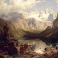 An Extensive Alpine Lake Landscape by Augustus Wilhelm Leu