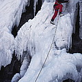 An Ice Climber On Habeggers Falls by Gordon Wiltsie