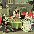 An Ornamental Garden With Elegant Figures Seated Around A Card Table by Filippo Falciatore