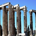 Ancient Greek Columns Or Pillars IIi Standing Tall In Athens Greece by John Shiron