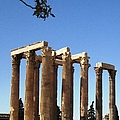 Ancient Greek Columns Or Pillars Standing Tall In Athens Greece by John Shiron