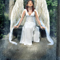 Angel On Stone Bench Looking Up Into The Light by Jill Battaglia