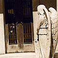 Angel Outside Cemetery Mausoleum Door by Kathy Fornal
