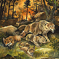 Animals United In Terror As They Flee From A Forest Fire by G W Backhouse