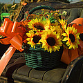 Antique Buggy And Sunflowers by Kathy Clark