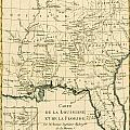 Antique Map Of Louisiana And Florida by Guillaume Raynal