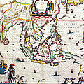 Antique Map Showing Southeast Asia And The East Indies by Willem Blaeu