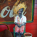 Antique Plaster Black Child Fisherman With Coca Cola Background by Kathy Clark