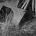 Antique Tractor Bucket In Black And White by Jennifer Ancker