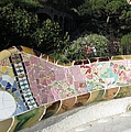 Antoni Gaudi Park Guell Tile Mosaic Bench Barcelona Spain by John Shiron