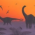 Apatosaur Dinosaurs, Artwork by Richard Bizley