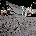 Apollo 15 Astronaut Works At The Lunar by Stocktrek Images