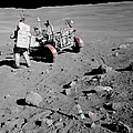 Apollo 16 Astronaut Stands by Stocktrek Images