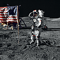 Apollo 17 Astronaut Salutes The United by Stocktrek Images