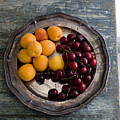 Apricots And Cherries On Silver Tray by Bjurling, Hans