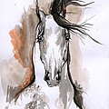 Arabian Horse Ink Drawing 2 by Angel Ciesniarska