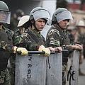 Argentine Marines Dressed In Riot Gear by Stocktrek Images