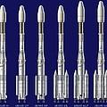 Ariane 4 Rocket Versions, Artwork by David Ducros