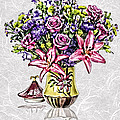 Arrangement In Pink And Purple On Rice Paper by Elaine Plesser