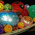 Art Glass Balls In Boat by Peggy Zachariou